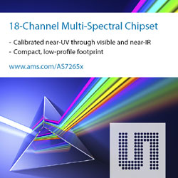 ams extends digital multispectral offerings with AS7265x compact 18-channel chipset